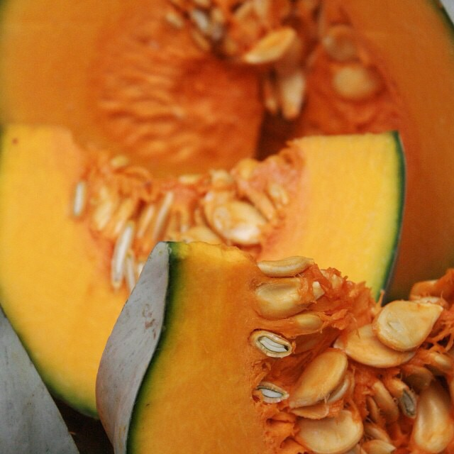 Jamaican pumpkin or delicious blue skinned (firm flesh) varieties is in season locally.