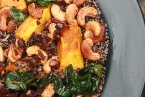Honeyed cashew, Jamaican pumpkin and black quinoa with raisins. Perfect autumn day meal.