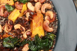 Honeyed cashew, Jamaican pumpkin and black quinoa with raisins. Perfect autumn day meal.
