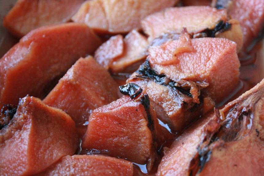 Poached and roasted quince. Once cooked quince has a lovely blush pink colour.