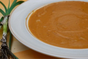 Sweet and creamy.  Leeks, Sweet Potato and Ginger.  A little kick with Scotch Bonnet peppers.