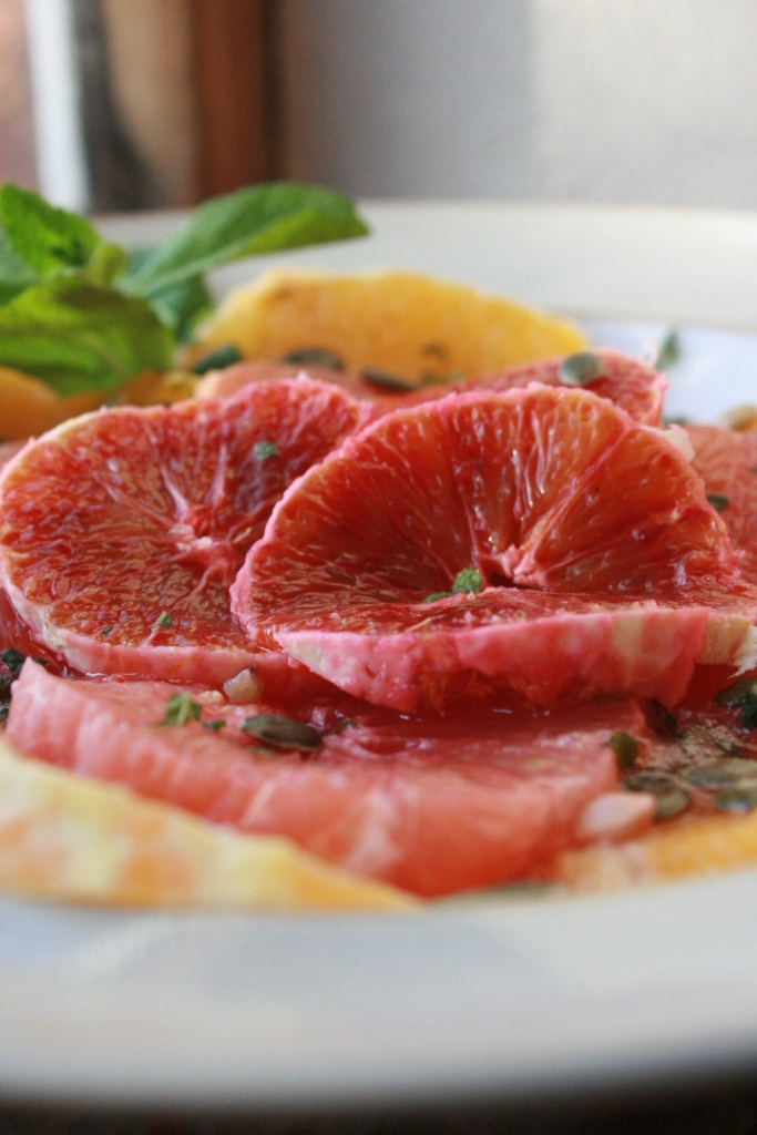 Blood oranges have a short season between December and March. Use garden mint to add an extra freshness to this breakfast bowl.
